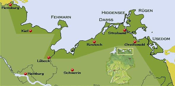 Ostsee Karte Rügen.Urlaub An Der Ostseeküste Und Auf Den Ostsee Inseln